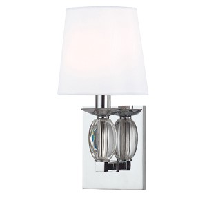 Cameron Polished Chrome One-Light Wall Sconce with White Shade