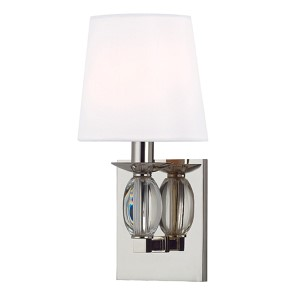 Cameron Polished Nickel One-Light Wall Sconce with White Shade