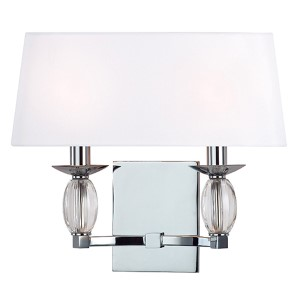 Cameron Polished Chrome Two-Light Wall Sconce with White Shade