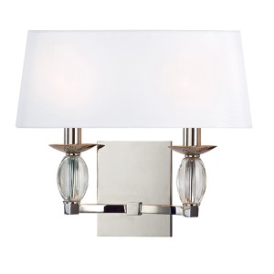 Cameron Polished Nickel Two-Light Wall Sconce with White Shade