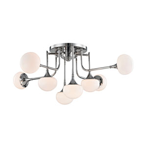 Fleming Polished Nickel LED Eight-Light Semi-Flush Mount