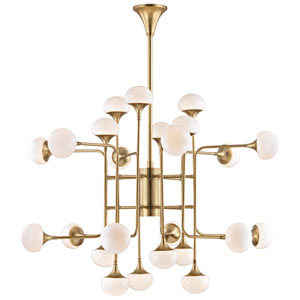 Fleming Aged Brass LED 24-Light Chandelier