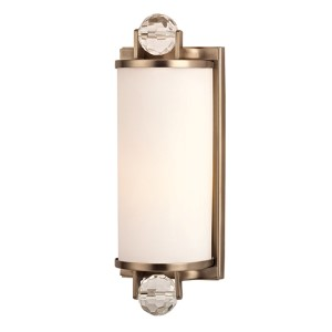 Prescott Brushed Bronze One-Light Bath Light Fixture with Matte Opal Glass