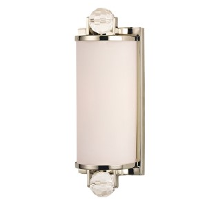 Prescott Polished Nickel One-Light Bath Light Fixture with Matte Opal Glass