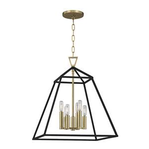 Webster Aged Brass Six-Light Pendant
