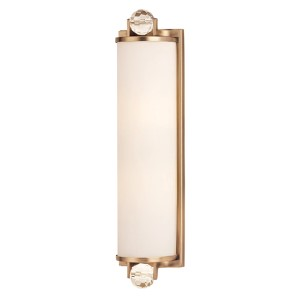 Prescott Brushed Bronze Two-Light Bath Light Fixture with Matte Opal Glass