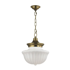 Dutchess Aged Brass Twelve-Inch Pendant with White Glass