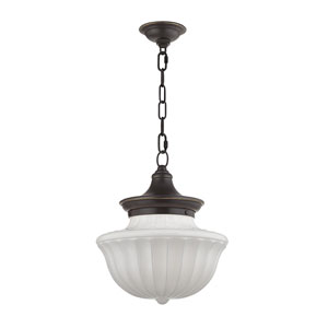 Dutchess Old Bronze Twelve-Inch Pendant with White Glass