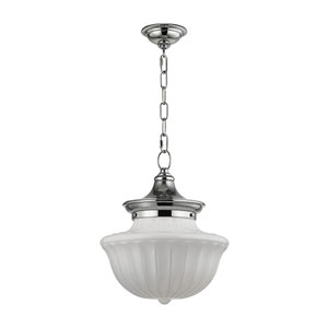 Dutchess Polished Nickel Twelve-Inch Pendant with White Glass