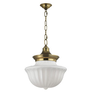 Dutchess Aged Brass Two-Light Pendant with White Glass
