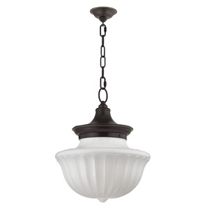 Dutchess Old Bronze Two-Light Pendant with White Glass