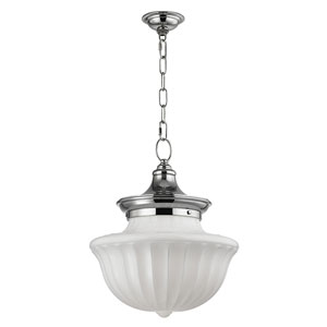 Dutchess Polished Nickel Two-Light Pendant with White Glass