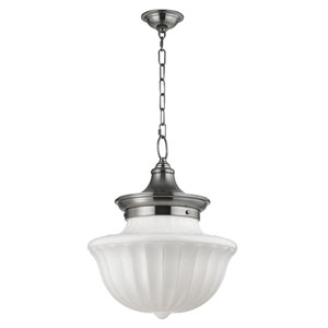 Dutchess Satin Nickel Two-Light Pendant with White Glass