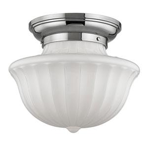 Dutchess Polished Nickel Two-Light Flushmount with White Glass
