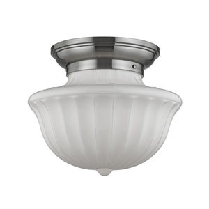 Dutchess Satin Nickel Two-Light Flushmount with White Glass