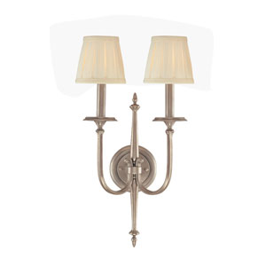 Jefferson Polished Nickel Two-Light Wall Sconce with Off White Shade