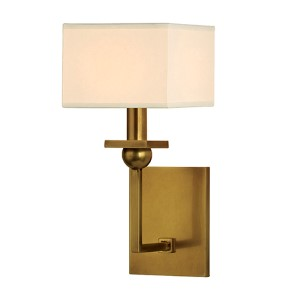 Morris Aged Brass One-Light Wall Sconce with Cream Shade