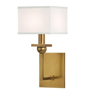 Morris Aged Brass One-Light Wall Sconce with White Shade