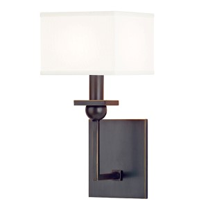 Morris Old Bronze One-Light Wall Sconce with White Shade