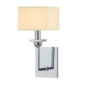 Morris Polished Chrome One-Light Wall Sconce with Cream Shade