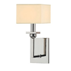 Morris Polished Nickel One-Light Wall Sconce with Cream Shade