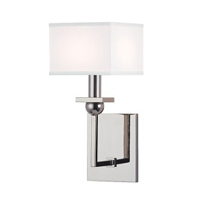 Morris Polished Nickel One-Light Wall Sconce with White Shade