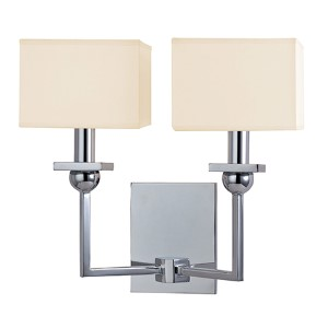 Morris Polished Chrome Two-Light Wall Sconce with Cream Shade