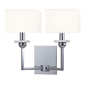Morris Polished Chrome Two-Light Wall Sconce with White Shade