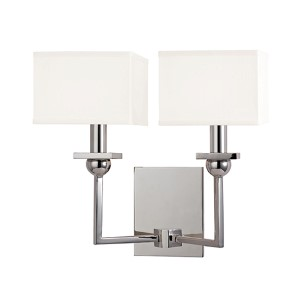 Morris Polished Nickel Two-Light Wall Sconce with White Shade