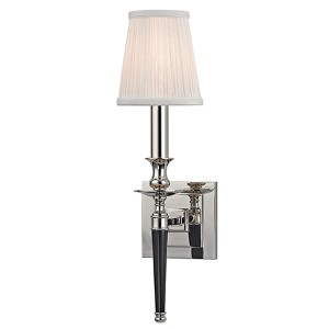 Salina Polished Nickel One-Light Wall Sconce with Silk Shade