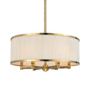 Hastings Aged Brass Six-Light Pendant with Natural Shade