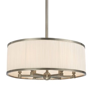 Hastings Historic Nickel Six-Light Chandelier with White Pleated Silk Shade