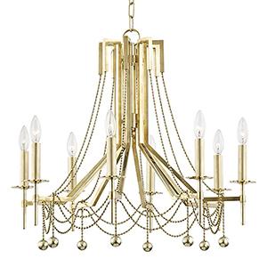 Zariah Aged Brass 8-Light 27.5-Inch Chandelier