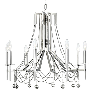 Zariah Polished Nickel 8-Light 27.5-Inch Chandelier
