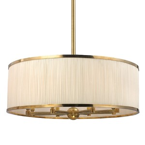 Hastings Aged Brass Eight-Light Pendant with Natural Shade
