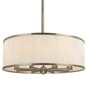 Hastings Historic Nickel Eight-Light Drum Pendant with White Pleated Silk Shade