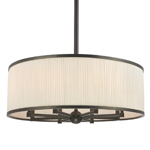 Hastings Old Bronze Eight-Light Pendant with Natural Shade