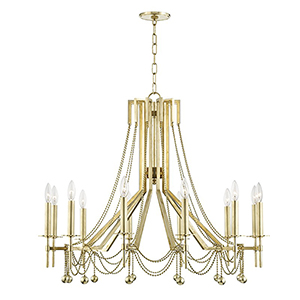 Zariah Aged Brass 12-Light 36-Inch Chandelier