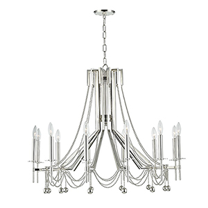 Zariah Polished Nickel 12-Light 36-Inch Chandelier