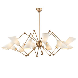 Buckingham Aged Brass 54-Inch 12-Light Chandelier