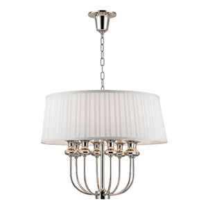 Pembroke Polished Nickel Eight-Light Pendant with White Silk Shade