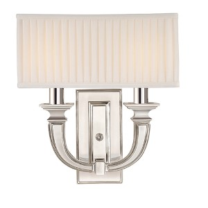 Phoenicia Polished Nickel Two-Light Sconce