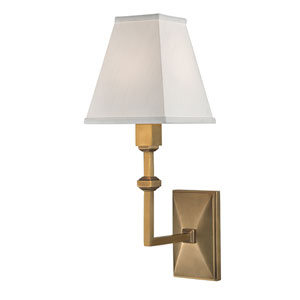 Tilden Aged Brass One-Light Wall Sconce with White Silk Shade