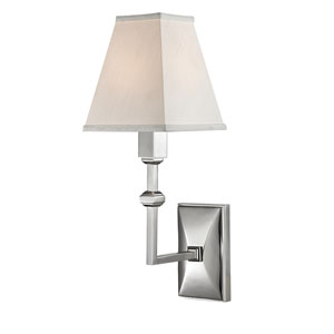 Tilden Polished Nickel One-Light Wall Sconce with White Silk Shade