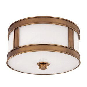 Patterson Aged Brass One-Light Flush Mount
