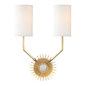 Borland Aged Brass Two-Light Wall Sconce