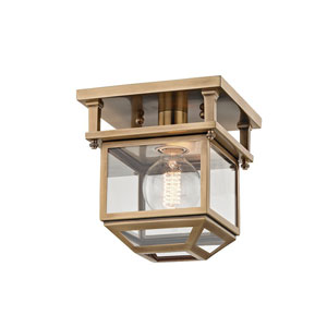 Rutherford Aged Brass 7-Inch One-Light Semi-Flush Mount