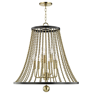 Spool Aged Brass 9-Light 26.5-Inch Chandelier