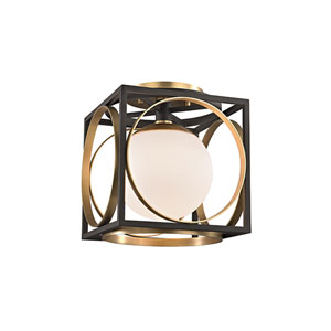 Wadsworth Aged Brass and Black One-Light Semi-Flush