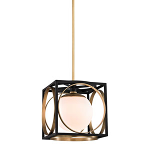 Wadsworth Aged Brass and Black 10-Inch One-Light Pendant